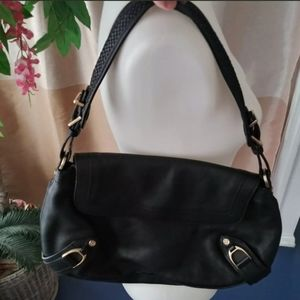Cole Haan Black Genuine Leather Gold Buckle purse